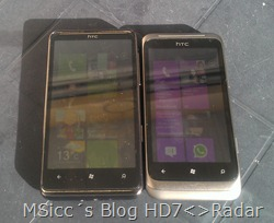 HTC HD7 vs. Radar vs. Titan (in the sun comparison)
