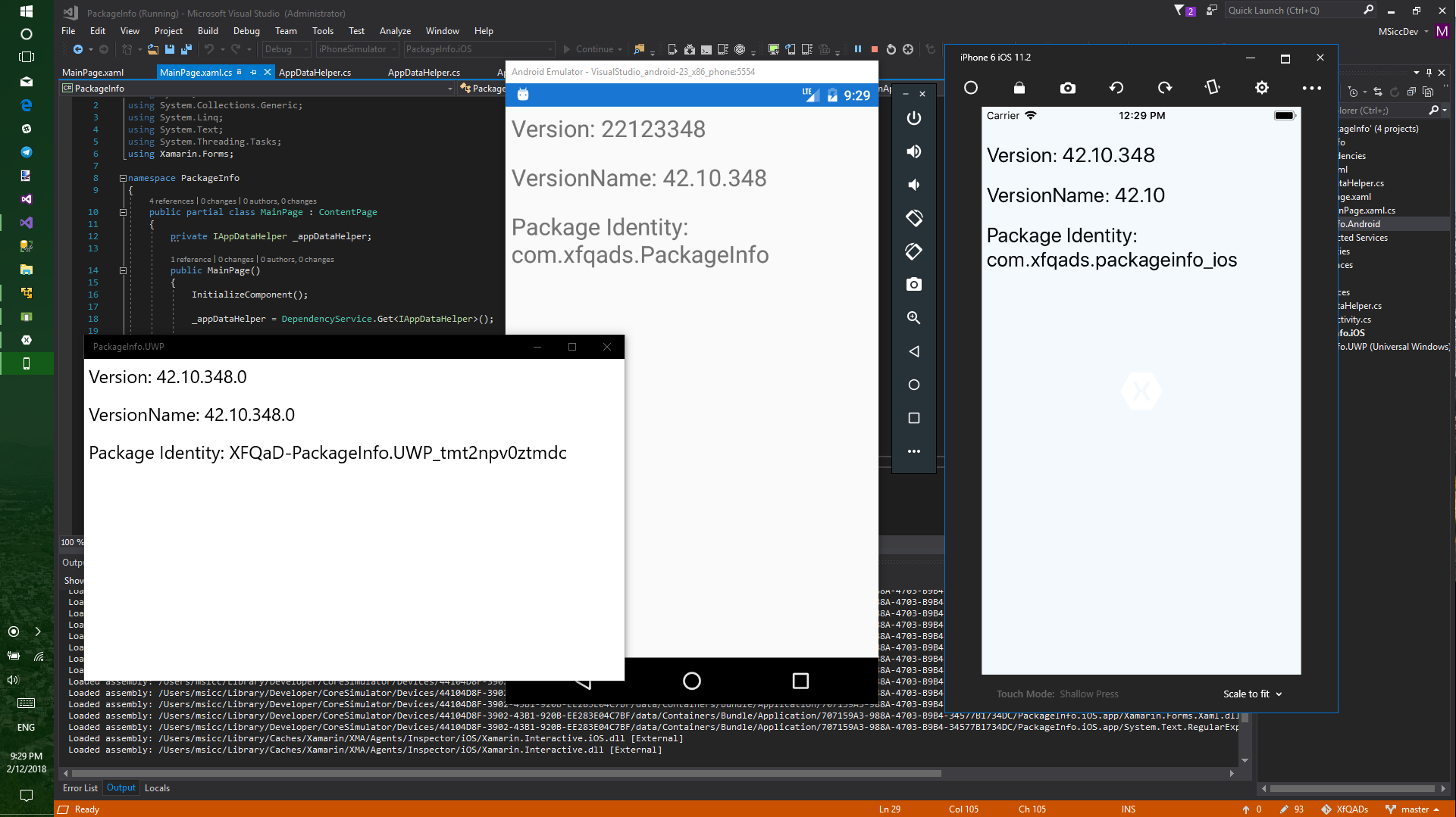 #XfQaD: read package identity and version from platform project with Xamarin.Forms